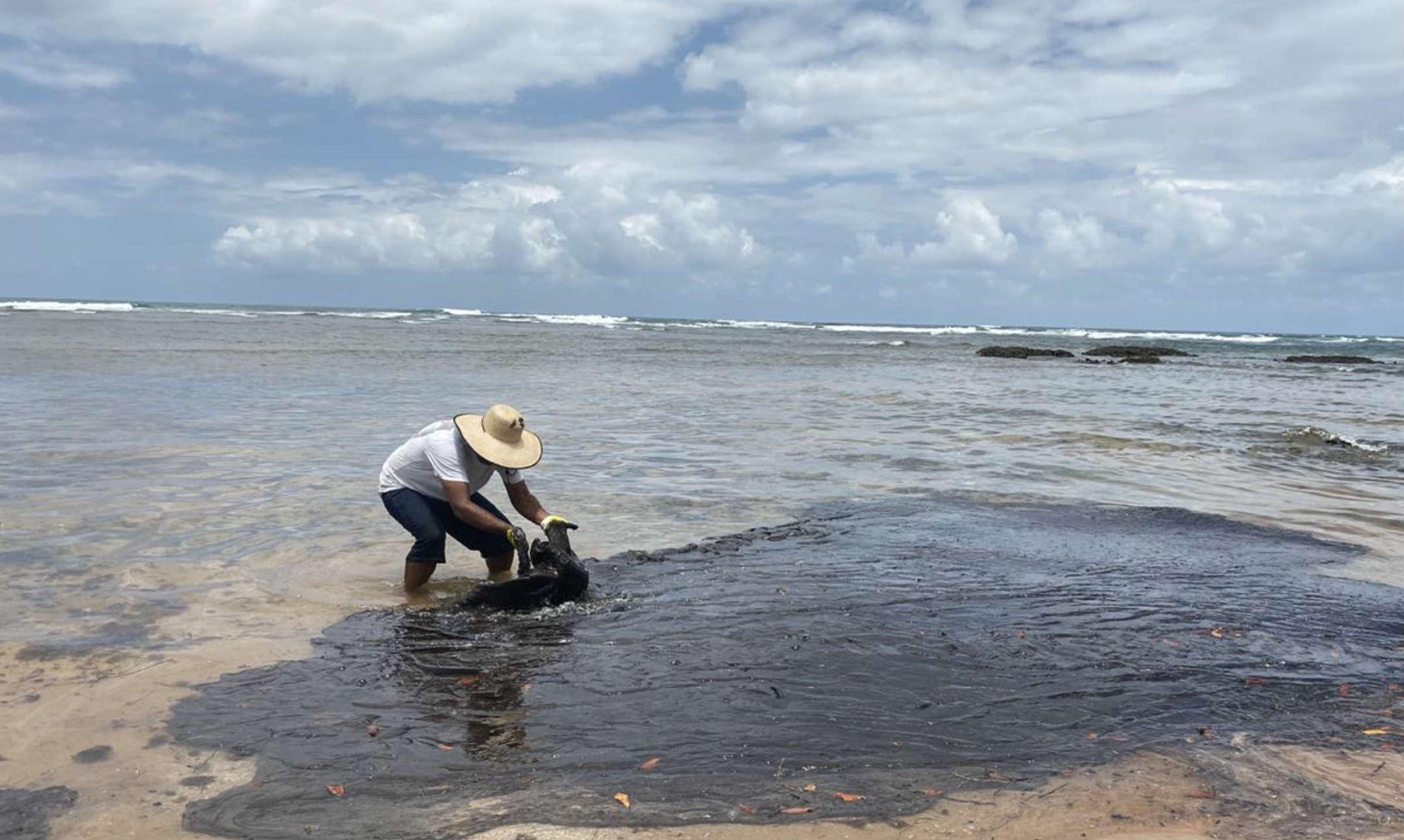 Óleo de origem não esclarecida já atingiu 120 praias da costa nordestina.   (Crédito: Divulgação)